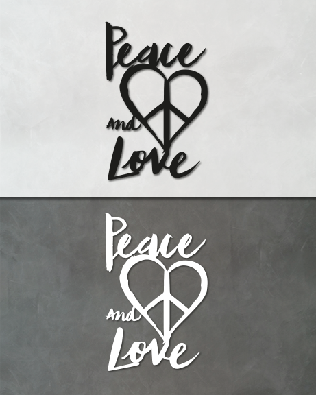 Peace and love (lettering)