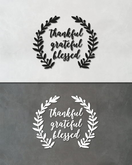 Thankful grateful blessed (lettering)
