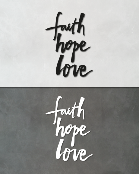 Faith hope love (lettering)